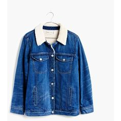 MADEWELL The Oversized Jean Jacket: Sherpa Edition ($175) ❤ liked on Polyvore featuring outerwear, jackets, montrose wash, blue jean jacket, sherpa denim jacket, vintage jean jacket, denim jacket and vintage denim jacket