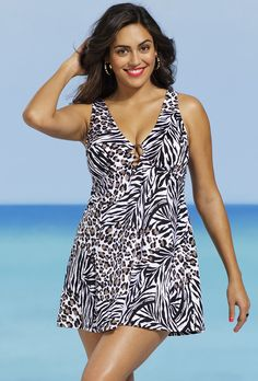 e6b0bf14368 Shop for Shore Club Women s Plus Size Congo Pink Leopard Tank Swimdress.  Get free delivery at Overstock - Your Online Women s Clothing Destination!