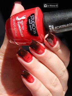 #nail #nails #nailart #nailpolish #polish #unha #unhas #esmalte #red #iara #sereia #mermaid #disney #princesadisney #love #cute #beauty #fashion #moda #girl #meninas #vermelho #glitter #rednail