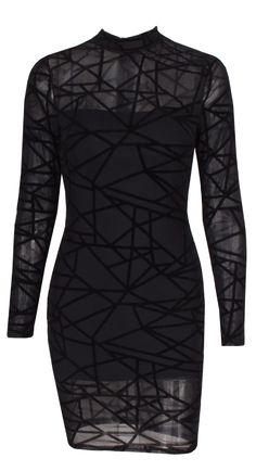 Mesh geometric dress. Run true to size.