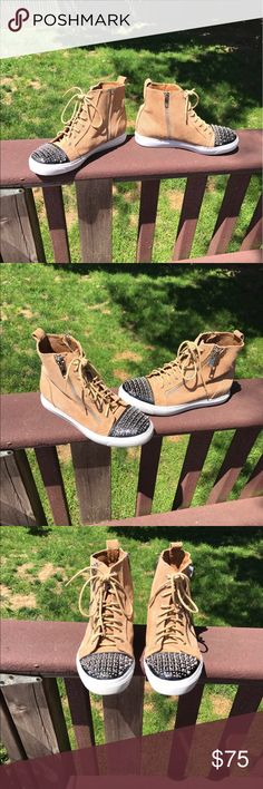 Jeffrey Campbell Adams Studded Sneaker Trendy and timeless distressed sneaker. Super comfortable, goes with any outfit! Perfect condition. Jeffrey Campbell Shoes Sneakers