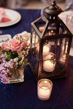 coral and navy. lantern centerpiece. wedding.