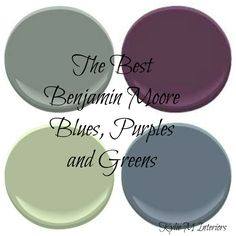Best Benjamin Moore Green Paint Colours The Best Benjamin Moore Cool Paint Colours - Most Popular Blues and GreensThe Best Benjamin Moore Cool Paint Colours - Most Popular Blues and Greens Purple Paint Colors, Bedroom Paint Colors, Paint Colors For Home, Bathroom Colors, House Colors, Bathroom Gray, Benjamin Moore Green, Benjamin Moore Paint, Pintura Exterior