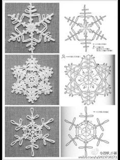 crochet snowflakes at . Crochet Snowflake Pattern, Crochet Stars, Crochet Motifs, Crochet Snowflakes, Crochet Diagram, Crochet Doilies, Crochet Flowers, Crochet Patterns, Crochet Ornaments