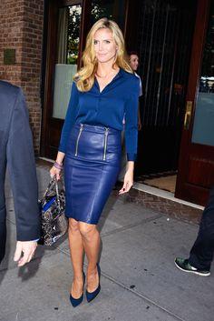 Cobalt blue leather pencil skirt.