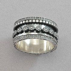 David Tishbi Blackened Sterling Silver Flower Spinner Ring