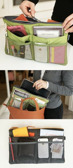The Slim Purse Organizer is designed to make your life much easier by allowing you to organize all the needed daily essentials in one pouch! All your purses will delight that you have this smart organizer preventing your purses from getting messy inside. Clutter Organization, Purse Organization, Things To Buy, Stuff To Buy, Getting Organized, Bag Making, Fashion Bags, Purses And Bags, Sewing Projects