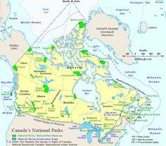 National Parks - A map showing the locations, extents and names of National Parks and National Marine Conservation Areas in Canada. Canada National Parks, National Parks Map, Parks Canada, California National Parks, Glacier National Park Canada, Canadian Travel, Canadian Rockies, Labrador, Road Trip Map