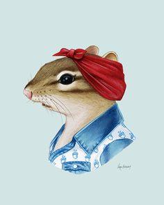 Chipmunk Lady - animal print - modern kid art - woodland nursery - modern nursery - animals in clothes - animal artwork - Ryan Berkley 8x10 by berkleyillustration on Etsy https://www.etsy.com/listing/266011621/chipmunk-lady-animal-print-modern-kid
