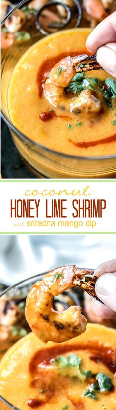 Easy grilled or stovetop Coconut Honey Lime Shrimp bursting with flavor bathed in the most intoxicating  creamy sweet heat Sriracha Mango Dip.  Hello delicious!