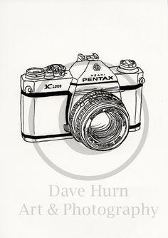 Screenprint of Pentax K1000 35mm SLR Camera - Portrait Format Screenprint From Hand Drawn Line Drawing, Black on White Heavyweight Art Paper by DaveHurnArtAndPhoto on Etsy https://www.etsy.com/listing/170617920/screenprint-of-pentax-k1000-35mm-slr
