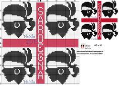 Sardegna 4 mori, - solo punto croce85x91 stitch Topolino - stemma sarda.58x87 stitch