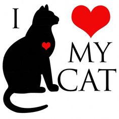 """Rag Doll Cat Like cat lady loves her 3 cats - Black silhouette of cat sitting with the expression, """"I Love (using a heart as a symbol for the word love) my Cat. Crazy Cat Lady, Crazy Cats, Cat Tiger, Black Cat Art, Black Cats, Cat Mouse, All About Cats, Cat Quotes, Work Quotes"""