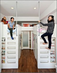 Lofted beds with walk-in closet underneath.This is by far the coolest thing ever. Add: I used to design things like this when I was it was part of my dream home city pent house. Dream Rooms, Dream Bedroom, Home Bedroom, Girls Bedroom, Bedroom Ideas, Bedroom Designs, Sibling Bedroom, Attic Bedrooms, Budget Bedroom