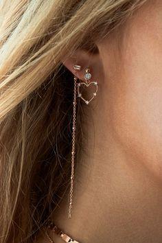 Rue Gembon Claudel Rose Gold Heart Earrings