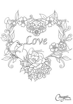 Masja's Flower Heart/Love hand-drawn Coloring by MasjasArtwork