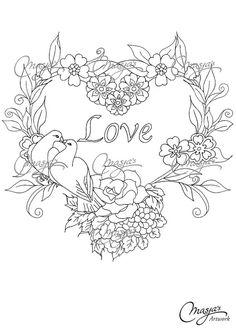 Masja's Flower Heart/Love hand-drawn Coloring by MasjasArtwork