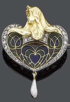 An Art Nouveau plique-à-jour enamel and diamond pendant/brooch, circa 1900. The heart-shaped plaque with a graduating rose-cut diamond surround, capped by a maiden in profile with cascading hair, to a pearl drop terminal, detachable brooch fitting.