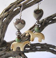 Carved Bone Horse with Apache Jasper Hearts Earrings | CactusCroneCreations - $22.00 @Artfire.com