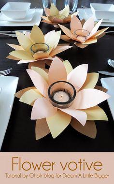 Centrotavola con porta tea light di carta, flover votive Diy, tutorial