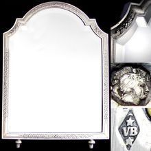 Antique French Sterling Silver Hallmarked Vanity Table Top Mirror, Wooden Backing & Easel