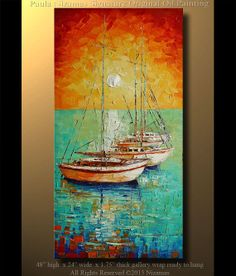 "Marina Painting ORIGINAL Signed Modern Palette Knife Oil Boats by P. Nizamas 48""…"