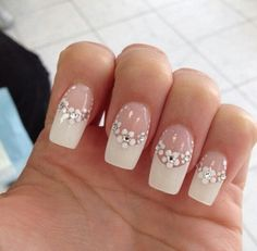 Floral french tip nails