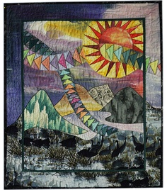 Morgan's mountain scene quilt could have a sun using the New York Beauty star.