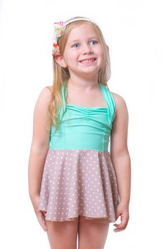 eloise in mint #reyswimwear #reyswimwearlittles #swimdress #toddlerswimdress #modestswimsuit