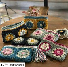 Granny Square Crochet Pattern, Crochet Flower Patterns, Crochet Squares, Crochet Granny, Crochet Motif, Crochet Stitches, Crochet Pouch, Crochet Gifts, Crochet Handbags