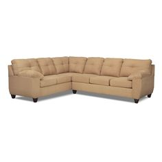 Living Room Furniture - Rialto Camel 2 Pc. Sectional with Right-Facing Innerspring Sleeper