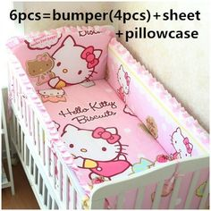 Promotion! 6PCS Hello Kitty Baby cot bedding set bed linen 100% cotton baby bedclothes ,include(bumper+sheet+pillow cover)