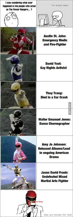 After being a Power Ranger The Power Rangers. poor yellow ranger :( The Black one is still acting though as well.The Power Rangers. poor yellow ranger :( The Black one is still acting though as well. Power Rangers Memes, Power Rangers Fan Art, Mighty Morphin Power Rangers, Chuck Norris, Amy Jo Johnson, Pawer Rangers, Pokemon, 90s Kids, Childhood Memories