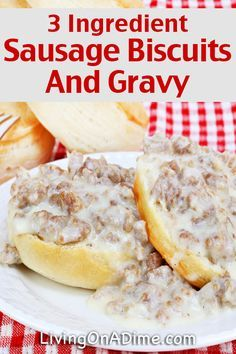 Easy 3 Ingredient Sausage Biscuits And Gravy Recipe - Easy 3 Ingredient Dinner Recipes dinner 3 ingredients Easy 3 Ingredient Dinner Recipes - Delicious Meals Fast! Slow Cooker Biscuits And Gravy, Easy Sausage Gravy, Easy Biscuits And Gravy, Sausage Biscuits, Homemade Biscuits, 3 Ingredient Dinners, 3 Ingredient Recipes, Slow Cooker Recipes, Crockpot Recipes