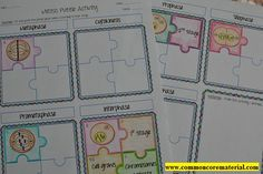 Mitosis Puzzle Activity by Common Core Materials Mitosis Vs Meiosis, Cell Biology Notes, Common Core Math, Science Lessons, Puzzle Pieces, Worksheets, Teaching, Activities, Science