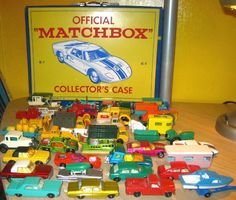 Matchbox Cars with Official Collector's Case!  Had most of these at one time ... have some of them still. Great Toys!  The case was stiff heavy duty plastic, wrapped around thick cardboard; two layers; approximately 100 cars.  Circa 1960's. Some of these look like later vintage Hot Wheels cars.
