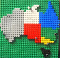 Lego Australia Map Fun idea. You could 'lego' your way around the world for #homeschool geography. Geography Activities, Lego Activities, Teaching Geography, Geography Lessons, World Geography, Australia For Kids, Australia Map, Visit Australia, Learning Time