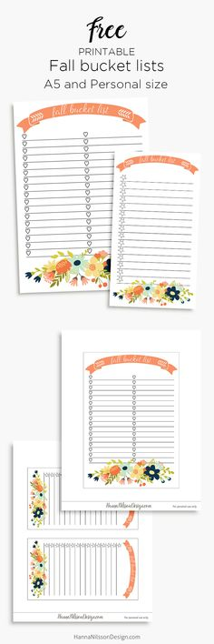 Free Printable Fall Bucket List Planner Insert | A5 and personal planner printable | Hanna Nilsson Design {subscription required}