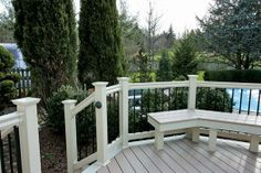 Superior Plastic Products-Photo Gallery of our Vinyl Fence, Porch & Deck Railing Installations Vinyl Railing, Deck Railings, Newel Posts, Decks And Porches, Outdoor Living, Outdoor Decor, Living Spaces, Photo Galleries, Plastic Products