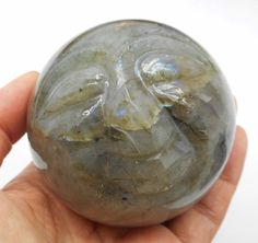 Labradorite Buddha Carving Crystal Sphere Reiki Healing 70 mm From Madagascar
