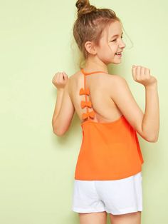 To find out about the Girls Neon Orange Bow Detail Y-Back Cami Top at SHEIN, part of our latest Girls T-Shirts & Tanks ready to shop online today! Little Girl Leggings, Girls Leggings, Cami Tops, Girls Sports Clothes, Mother Daughter Fashion, Kids Fashion, Fashion Outfits, Frocks For Girls, Baby Dress