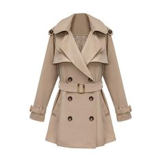 Slim Medium Style Khaki Trench Coat ($110) ❤ liked on Polyvore featuring outerwear, coats, jackets, casacos, coats & jackets, brown trench coat, trench coat, khaki coat, long sleeve coat and cotton coat