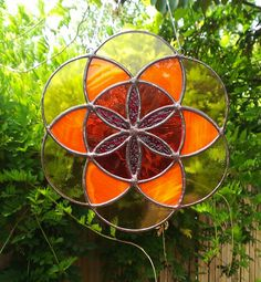 Seed of Life Sacred Geometry Orange Yellow and by JBsGlassHouse