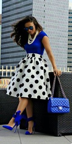 Blue and white with black polka dots