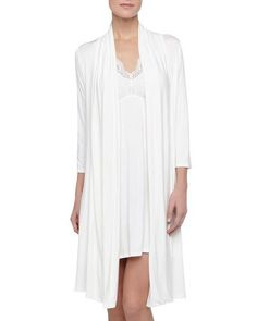 -4WYC Fleur't  Take Me Away Lace Racerback Chemise, Ivory Take Me Away Travel Robe with Silk Inset Belt and Hidden Pockets