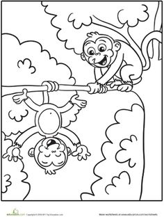 kindergarten animals worksheets silly monkeys coloring page - Monkey Coloring Pages