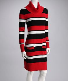 Red & Black Stripe Sweater Dress