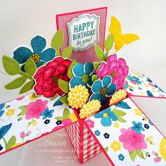Birthday Pop-Up Card, Card in a Box, Stampin' Up! Print these directions Pop Up Box Cards, 3d Cards, Card Boxes, Box Cards Tutorial, Card Tutorials, Cricut Cards, Stampin Up Cards, Birthday Box, Birthday Cards