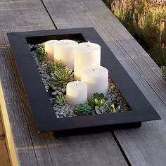 Reflection 32 Black Metal Centerpiece is part of diy-home-decor - A Zen inspiration in indooroutdoor decoration This simple, watertight tray is the foundation for a reflecting pool with or without rocks, floating candles or blossoms Black Centerpieces, Succulent Centerpieces, Wedding Centerpieces, Centerpiece Ideas, Quinceanera Centerpieces, Candle Centerpieces For Home, Succulent Table Decor, Dining Table Decor Centerpiece, Wedding Decorations