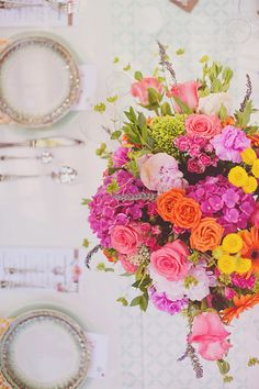 bright pink + orange centerpiece // photo by Jacquelyne Mae Photography // View more: http://ruffledblog.com/bridal-shower-luncheon-inspiration/